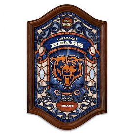 Chicago Bears Illuminated Wood Frame Stained-Glass Wall Decor