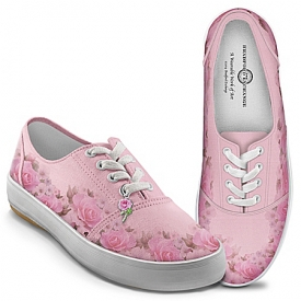 Blush Of Beauty Women's Pink Canvas Flower Shoes