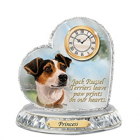 Jack Russell Terrier Crystal Heart Personalized Decorative Dog Clock