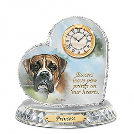 Boxer Crystal Heart Personalized Decorative Dog Clock