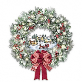 Thomas Kinkade A Holiday Homecoming Lighted Musical Christmas Wreath