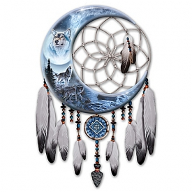 Al Agnew Starlit Sentinels Wolf Dreamcatcher Wall Decor