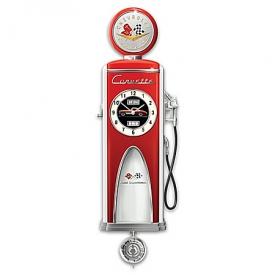 Corvette High Octane Gas Pump Lighted Wall Clock