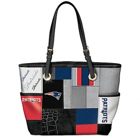 For The Love Of The Game NFL New England Patriots Patchwork Tote Bag