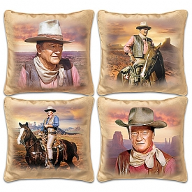 John Wayne Western Sunset Decorative Pillow Set