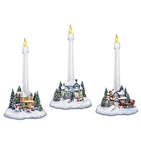 Thomas Kinkade Holiday Lights, Spirits Bright Village Candleholders With Flameless Candles
