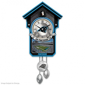 Carolina Panthers NFL Cuckoo Clock With Game Day Image