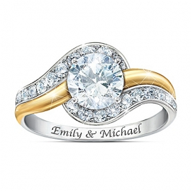 Alfred Durante Forever Begins Today Personalized Sterling Silver Topaz Ring