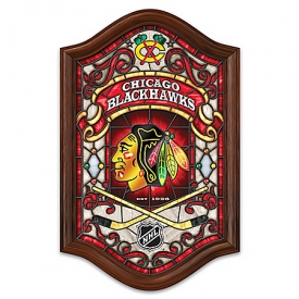 Chicago Blackhawks® Illuminated Wooden Frame Stained-Glass Wall Decor