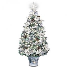 Thomas Kinkade Winter Splendor Illuminated Tabletop Tree