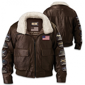 America's WWII Heroes In Flight Men's Distressed Leather Bomber Jacket