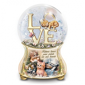 Jurgen Scholz Kittens Leave Pawprints On Our Hearts Hand-Painted Glitter Globe