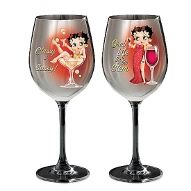 Betty Boop Classy And Sassy Wine Glasses 14 Oz: Set One
