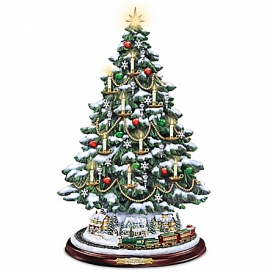 Handcrafted Thomas Kinkade The Heart Of Christmas Illuminated Tabletop Tree
