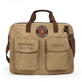 USMC Personalized Canvas Messenger Tote Bag