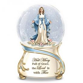 Blessed Virgin Mary Religious Musical Glitter Globe