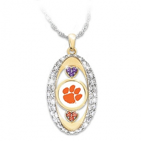 18K Gold Plated Clemson Tigers Pride! Swarovski Crystal Hearts Pendant Necklace