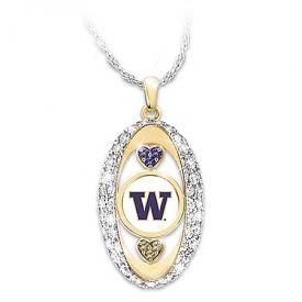 18K Gold Plated Washington Huskies Pride! Swarovski Crystal Hearts Pendant Necklace