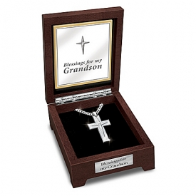 Blessed Grandson Men's Stainless Steel Religious Cross Pendant Necklace With Valet Box