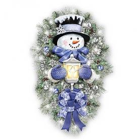 Thomas Kinkade A Warm Winter Welcome Illuminated Holiday Snowman Wreath