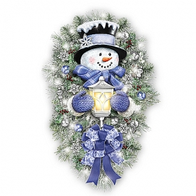 Thomas Kinkade A Warm Winter Welcome Illuminated Holiday Snowman Wreath