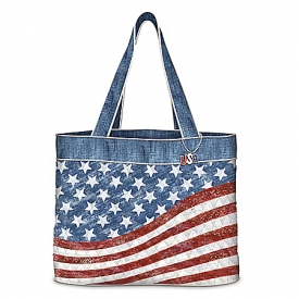 American Pride Quilted American Flag Inspired Women's Tote Bag