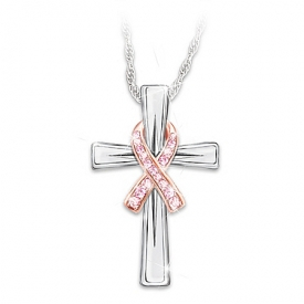 Faith and Hope Breast Cancer Awareness Women???s Sterling Silver Pendant Necklace