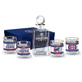 Chicago Cubs 2016 World Series Decanter Set With Glasses