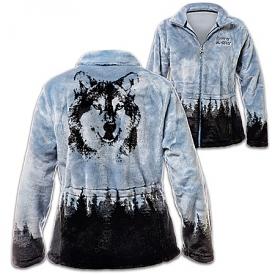 Al Agnew Spirit Of The Wild Women's Wolf-Themed Fleece Jacket