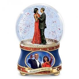 Barack And Michelle Obama: An American Milestone Musical Glitter Globe