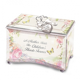 A Mother's Love Personalized Beveled Glass Floral Music Box