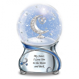 Sister, I Love You To The Moon Musical Glitter Globe