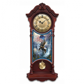 American Spirit Illuminated Stained-Glass Patriotic Wall Clock