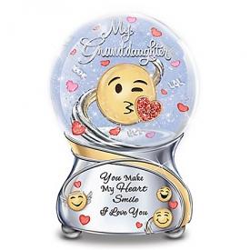 Granddaughter, You Make My Heart Smile Musical Emoji Glitter Globe