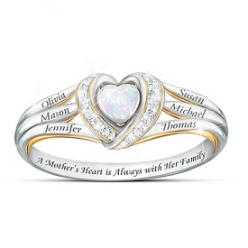 A Mother's Joyful Heart Women's Heart-Shaped Personalized Diamond Ring