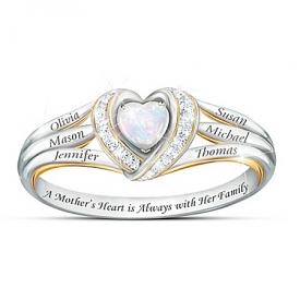A Mother's Joyful Heart Women's Heart-Shaped Personalized Diamond Ring