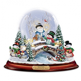 Thomas Kinkade Wonderland Of Snow Illuminated Musical Snowman Snowglobe