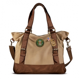 Armed Forces U.S. Army Women's Canvas Handbag With Patriotic Charms