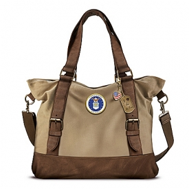 Armed Forces U.S. Air Force Women's Canvas Handbag With Patriotic Charms