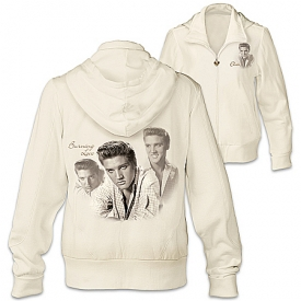 Burning Love Women's Elvis Presley Ivory Easy-Care & Cotton Knit Blend Hoodie