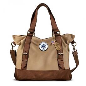 Armed Forces U.S. Coast Guard Women's Canvas Handbag With Patriotic Charms