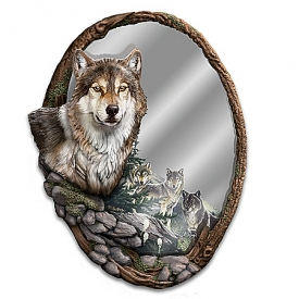 Al Agnew Reflections Of Nature Fully Sculpted Wolf Mirror