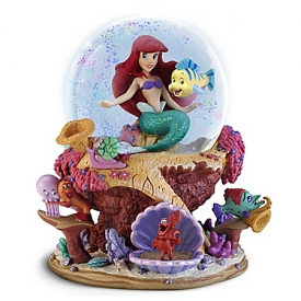 Disney The Little Mermaid Ariel And Flounder Musical Glitter Globe