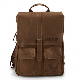 Armed Forces U.S. Air Force Genuine Leather Backpack With Embossed Emblem