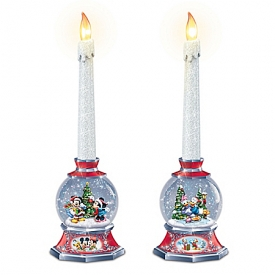 Disney Glowing Holiday Memories Flickering Flameless Candle Set With Snowglobe Base