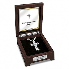 Blessed Son Stainless Steel Cross Pendant Necklace With Deluxe Wooden Valet Box