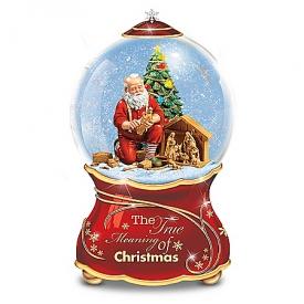 Thomas Kinkade The True Meaning Of Christmas Santa Claus Musical Glitter Globe