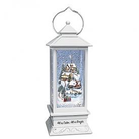 Thomas Kinkade All Is Calm, All Is Bright Musical Snowglobe Lantern