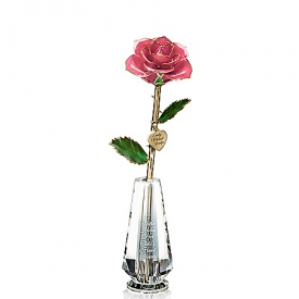 A Mother's Lasting Love Personalized 24K Gold-Plated Rose Table Centerpiece With Faceted Glass Vase
