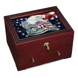 Jody Bergsma Proud Veteran Patriotic Eagle Art Wooden Keepsake Box